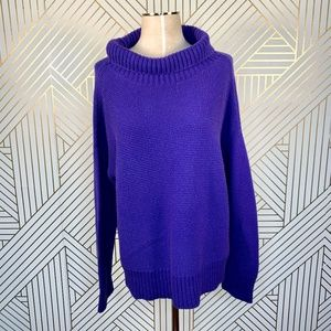 Eileen Fisher Turtle Neck Box Sweater Blue Violet
